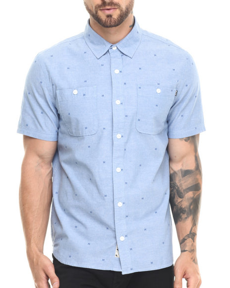 Ur-ID 220818 HUF - Men Blue Payday Chambray Button-Down