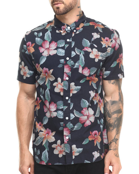 Ur-ID 220867 HUF - Men Black Aloha Aina S/S Button-Down