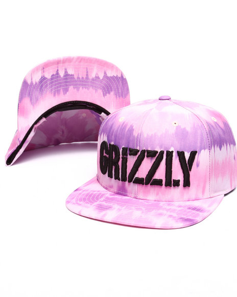 Grizzly Griptape Men Tie-Dye Stamp Snapback Cap Purple