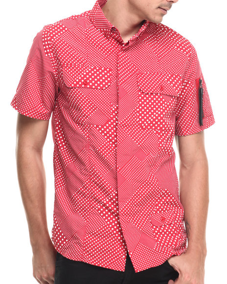 Rocawear Blak - Men Red Sumner S/S Button-Down