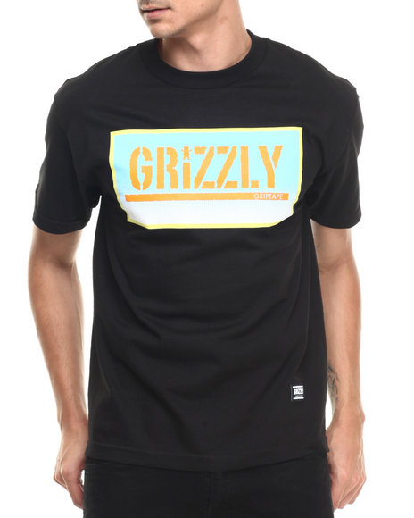 Ur-ID 220923 Grizzly Griptape - Men Black Sunrise Stamp Tee
