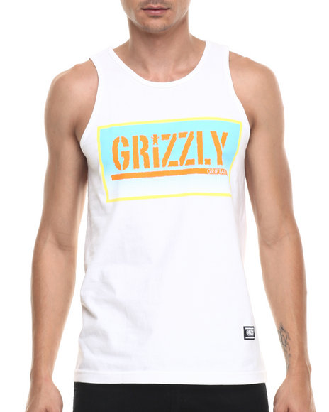 Ur-ID 220935 Grizzly Griptape - Men White Sunrise Stamp Tank