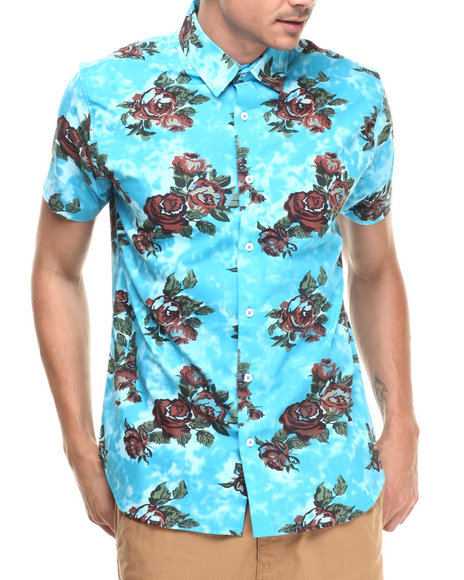 Waimea - Men Blue S/S Rose Tye Dye Buttondown
