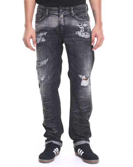 Rocawear Blak - Men Black,Black Re-Fab Straight Fit Jeans