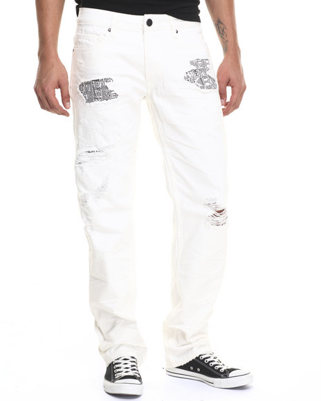 Rocawear Blak - Men White Re-Fab Denim Jeans