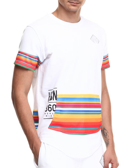 Ur-ID 220898 Hudson NYC - Men White Desert Stripe S/S Tee