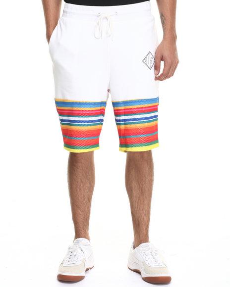 Ur-ID 220926 Hudson NYC - Men White Desert Stripe Drawstring Shorts