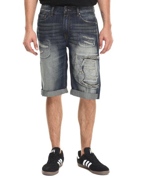 Ur-ID 220957 Rocawear BLAK - Men Dark Wash Bleek Shorts