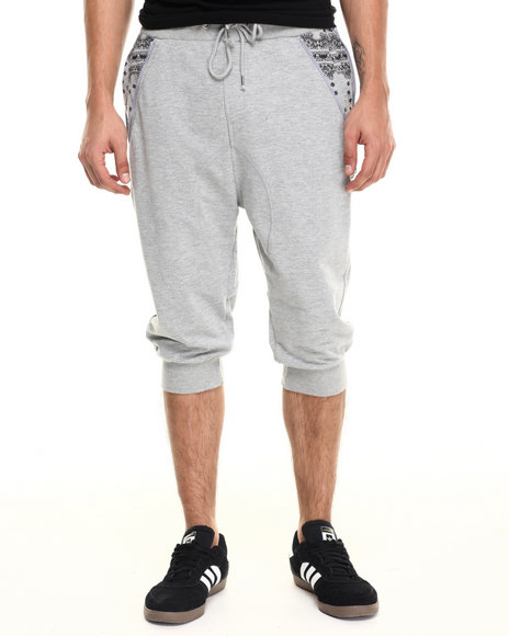 Ur-ID 220959 Waimea - Men Grey Side Zip Banadana Long Jogger Short