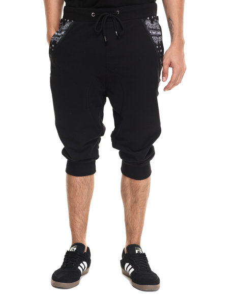 Ur-ID 220968 Waimea - Men Black Side Zip Banadana Long Jogger Short