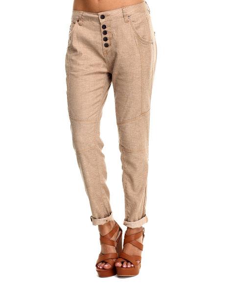 Bianco Jeans - Women Tan Premium Stretch Linen Boyfriend Skinny Pant