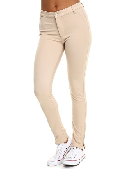Bianco Jeans - Women Khaki Premium Light Scuba Ankle Zip Pant