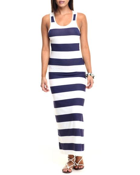 Ur-ID 223458 Fashion Lab - Women Navy Stripe Maxi Dress