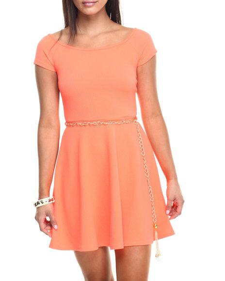 Ur-ID 223461 Fashion Lab - Women Orange On Board Cap Sleeve Basic Dress W/Gold Chain
