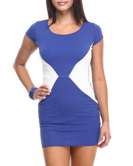 Fashion Lab - Women Blue Color Block Sheath Dress - $19.99