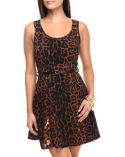 Fashion Lab - Roar! Animal Print Scoop Neck Sleeveless Dress