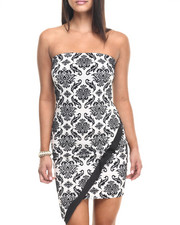 Fashion Lab - Embossed Printed Strap Less Body Con Dress