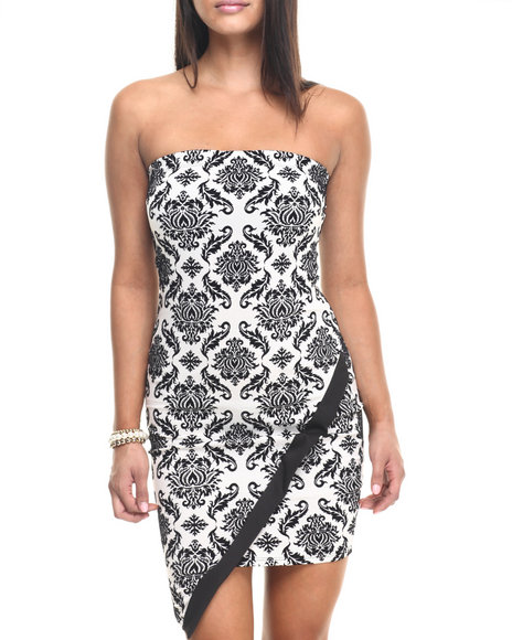 Fashion Lab - Women Black Embossed Printed Strap Less Body Con Dress - $22.99