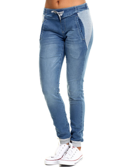 Fashion Lab - Women Light Wash Knit Denim Jogger