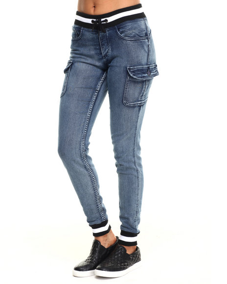 Fashion Lab - Women Dark Wash Knit Denim Cargo Pocket Jogger - $37.99