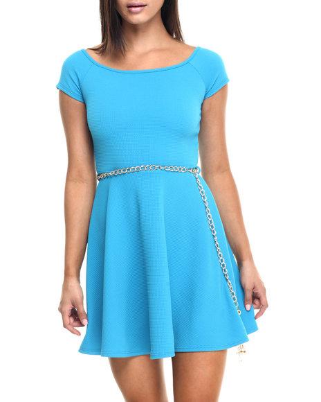 Ur-ID 223471 Fashion Lab - Women Blue On Board Cap Sleeve Basic Dress W/Gold Chain