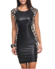 Fashion Lab - Vegan Leather Dress W/Animal Print