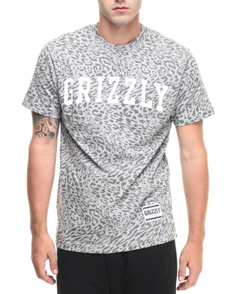 Ur-ID 223494 Grizzly Griptape - Men Animal Print,Grey Trippy Trail All Over Tee