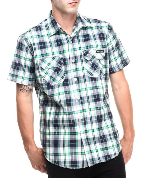 Ur-ID 223499 Enyce - Men Green Jack S/S Button-Down