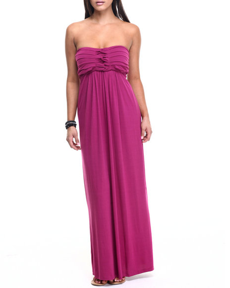 Paperdoll - Women Dark Pink Empress Strapless Maxi Dress - $34.00