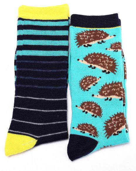 Drj Sock Shop Men Hedgehog/Stripes 2Pk Crew Socks Blue 10-13