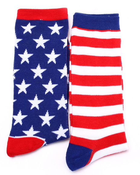 Drj Sock Shop Men Americana 2Pk Crew Socks Red 10-13 - $8.99