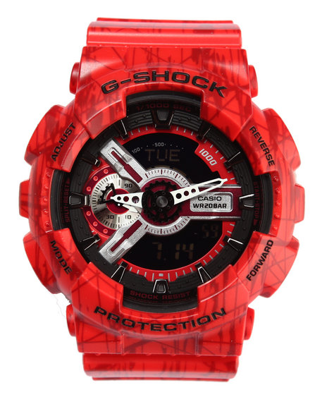 G-Shock By Casio Men Slash Pattern Watch Red