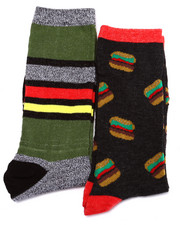 Accessories - Burger/Stripes 2Pk Crew Socks