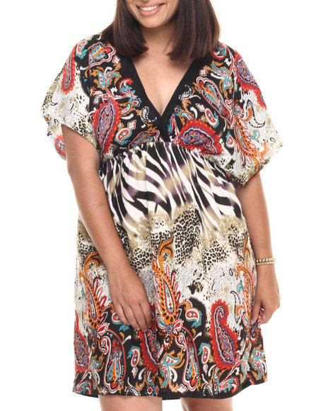 Ur-ID 223369 She's Cool - Women Multi Animal V Neck Kimono Dress (Plus)