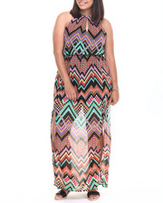 Plus Size - Chevron Print Ombre Maxi Dress (Plus)