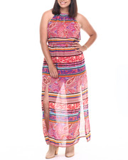 Women - Chevron Print Ombre Maxi Dress (Pluss)
