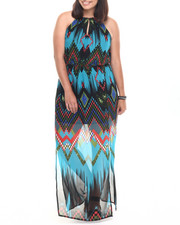 Women - Chevron Print Ombre Maxi Dress (Plus)