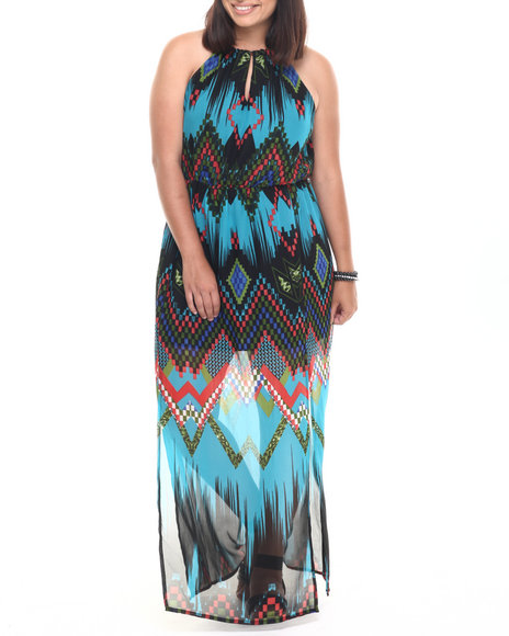 Ur-ID 223372 She's Cool - Women Turquoise Chevron Print Ombre Maxi Dress (Plus)