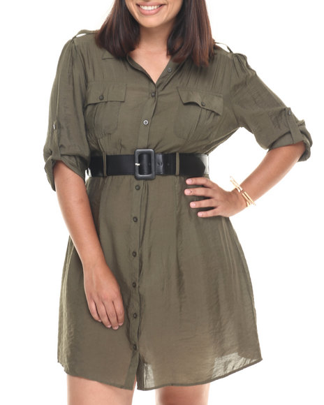 Ur-ID 223394 She's Cool - Women Olive Roll-Up Sleeve Belted Shirt Dress (Plus)