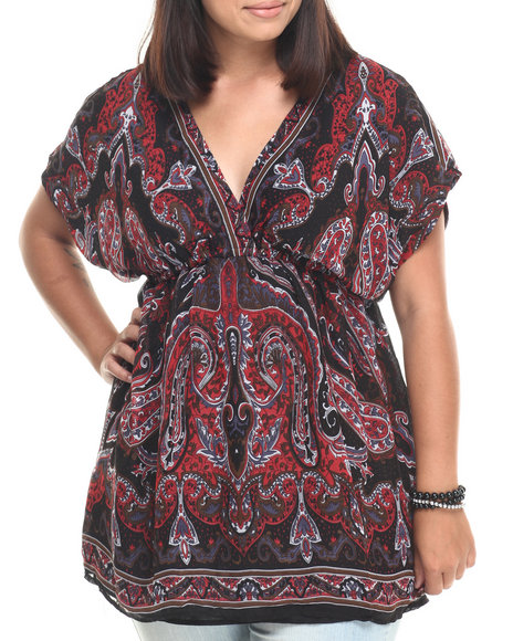 Ur-ID 223395 She's Cool - Women Multi Paisley Print V Neck Surplus Tunic (Plus)