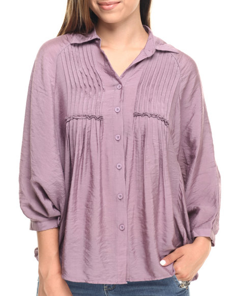 Ur-ID 223522 Cotton Express - Women Purple Pleated Front Batwing Viscose Top