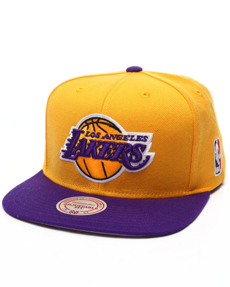 Ur-ID 223543 Mitchell & Ness - Men Purple,Yellow Los Angeles Lakers 2 Tone Standard Logo Snapback Cap
