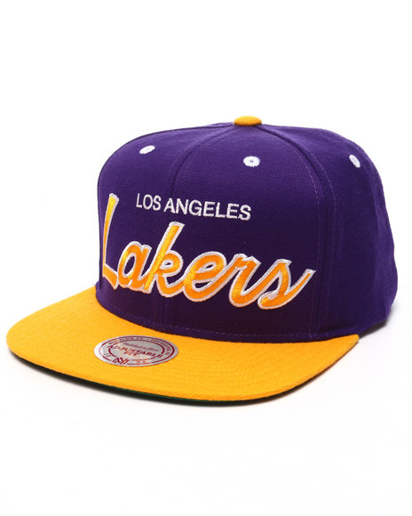 Ur-ID 223545 Mitchell & Ness - Men Purple,Yellow Los Angeles Lakers 2 Tone Script Snapback Cap