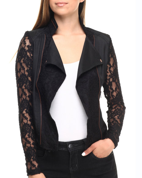 Ur-ID 223592 Cotton Express - Women Black Lace Insert Zip Trim Moto Jacket