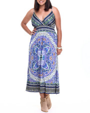 Women - Placement Print Surplice Dress (Plus)