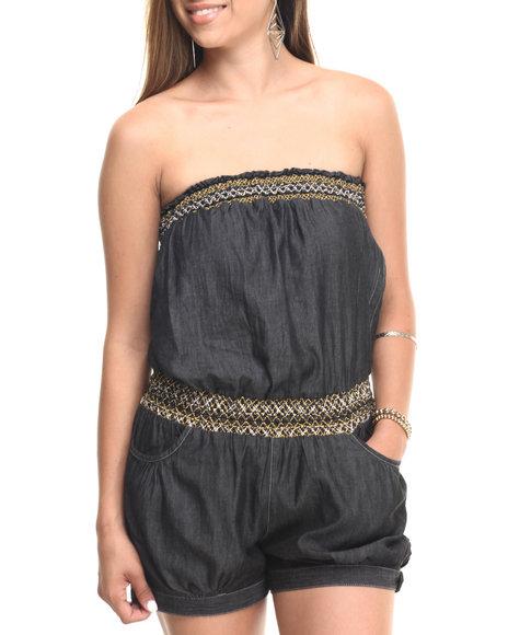 Ur-ID 223595 Cotton Express - Women Black Smocked Tube Denim Romper