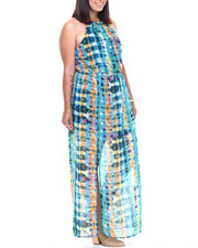 Women - Watercolor Print Keyhole Georgette Maxi (Plus)