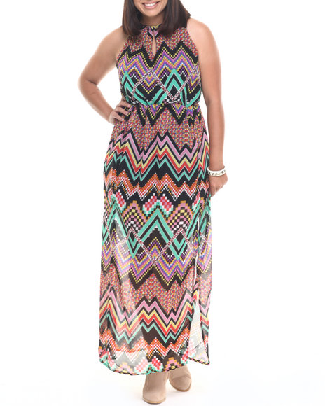 Ur-ID 223598 She's Cool - Women Multi Chevron Print Keyhole Georgette Maxi (Plus)