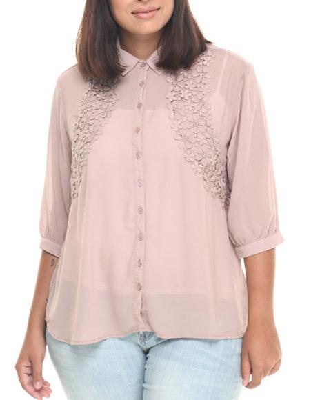 Ur-ID 223370 She's Cool - Women Light Brown Crochet Lace Trim Blouse (Plus)