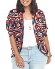 Women - Chevron Print Brushed Cocoon Shrug (Plus)